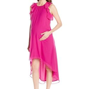 Maternity Ruffle Chiffon Dress, Magenta